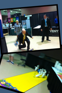 The Mayor bowls at Business Showcase