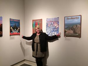 Showing my two posters displayed at the