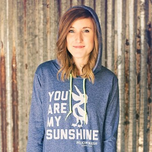 "My favorite of the Pelican Parish Supply Co. shirts was the limited-edition ""Sunshine"" long-sleeve hoodies worn by Jesi Wilcox. (photo cred: PPSC Facebook page)"