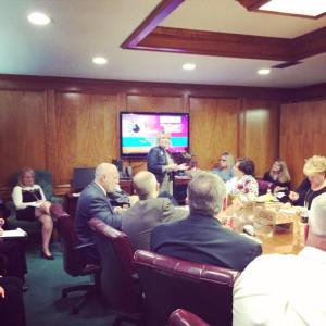 Sharing the Holiday Lanes message with the Bossier Chamber Board of Directors