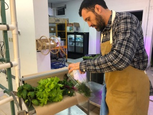 Michael Billings making Salad from Cotton Street Farm
